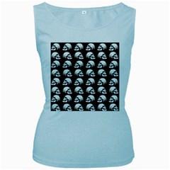 Halloween Skull Pattern Women s Baby Blue Tank Top