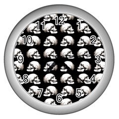 Halloween Skull Pattern Wall Clocks (silver)