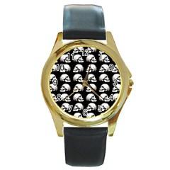 Halloween Skull Pattern Round Gold Metal Watch