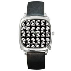 Halloween Skull Pattern Square Metal Watch