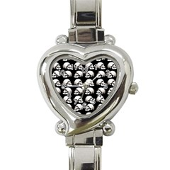Halloween Skull Pattern Heart Italian Charm Watch