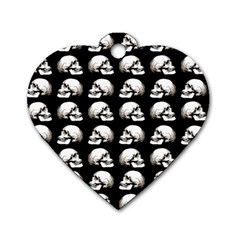 Halloween Skull Pattern Dog Tag Heart (two Sides)