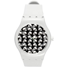Halloween Skull Pattern Round Plastic Sport Watch (m)