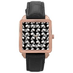 Halloween Skull Pattern Rose Gold Leather Watch