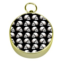 Halloween Skull Pattern Gold Compasses