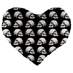 Halloween Skull Pattern Large 19  Premium Flano Heart Shape Cushions