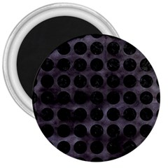 Circles1 Black Marble & Black Watercolor (r) 3  Magnets