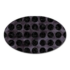 Circles1 Black Marble & Black Watercolor (r) Oval Magnet