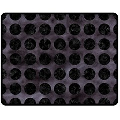 Circles1 Black Marble & Black Watercolor (r) Double Sided Fleece Blanket (medium)