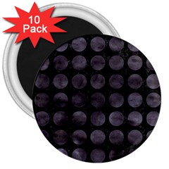 Circles1 Black Marble & Black Watercolor 3  Magnets (10 Pack)