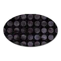 Circles1 Black Marble & Black Watercolor Oval Magnet