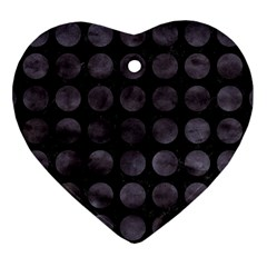 Circles1 Black Marble & Black Watercolor Heart Ornament (two Sides)