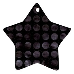 Circles1 Black Marble & Black Watercolor Star Ornament (two Sides)