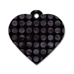 Circles1 Black Marble & Black Watercolor Dog Tag Heart (two Sides)