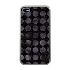 Circles1 Black Marble & Black Watercolor Apple Iphone 4 Case (clear)