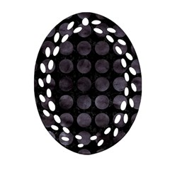 Circles1 Black Marble & Black Watercolor Oval Filigree Ornament (two Sides)
