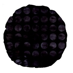 Circles1 Black Marble & Black Watercolor Large 18  Premium Round Cushions
