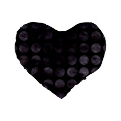 Circles1 Black Marble & Black Watercolor Standard 16  Premium Heart Shape Cushions