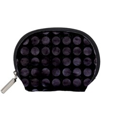Circles1 Black Marble & Black Watercolor Accessory Pouches (small)