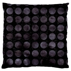 Circles1 Black Marble & Black Watercolor Large Flano Cushion Case (two Sides)