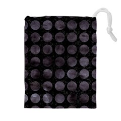 Circles1 Black Marble & Black Watercolor Drawstring Pouches (extra Large)