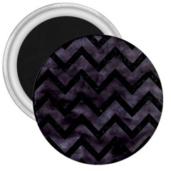 Chevron9 Black Marble & Black Watercolor (r) 3  Magnets