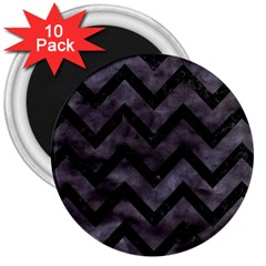 Chevron9 Black Marble & Black Watercolor (r) 3  Magnets (10 Pack)