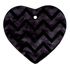 Chevron9 Black Marble & Black Watercolor (r) Heart Ornament (two Sides)