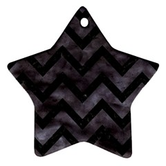 Chevron9 Black Marble & Black Watercolor (r) Star Ornament (two Sides)