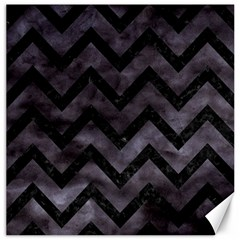 Chevron9 Black Marble & Black Watercolor (r) Canvas 20  X 20