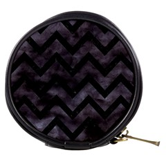 Chevron9 Black Marble & Black Watercolor (r) Mini Makeup Bags