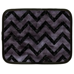 Chevron9 Black Marble & Black Watercolor (r) Netbook Case (xl)
