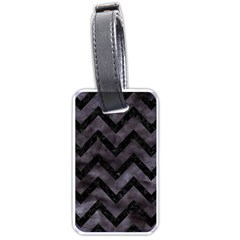 Chevron9 Black Marble & Black Watercolor (r) Luggage Tags (two Sides)