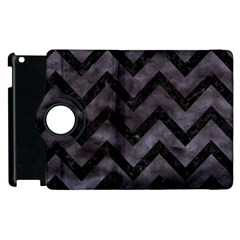 Chevron9 Black Marble & Black Watercolor (r) Apple Ipad 2 Flip 360 Case