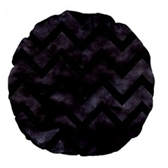 Chevron9 Black Marble & Black Watercolor (r) Large 18  Premium Round Cushions