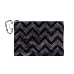 Chevron9 Black Marble & Black Watercolor (r) Canvas Cosmetic Bag (m)
