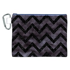 Chevron9 Black Marble & Black Watercolor (r) Canvas Cosmetic Bag (xxl)
