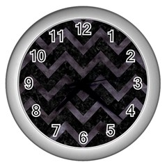 Chevron9 Black Marble & Black Watercolor Wall Clocks (silver)