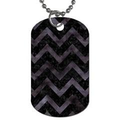 Chevron9 Black Marble & Black Watercolor Dog Tag (one Side)