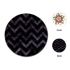 Chevron9 Black Marble & Black Watercolor Playing Cards (round)