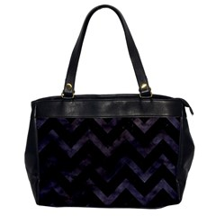Chevron9 Black Marble & Black Watercolor Office Handbags