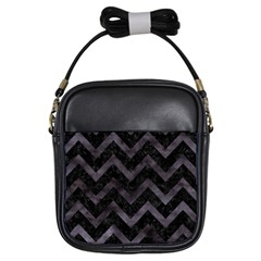 Chevron9 Black Marble & Black Watercolor Girls Sling Bags