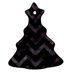 Chevron9 Black Marble & Black Watercolor Ornament (christmas Tree)