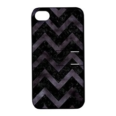 Chevron9 Black Marble & Black Watercolor Apple Iphone 4/4s Hardshell Case With Stand