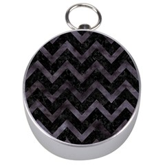 Chevron9 Black Marble & Black Watercolor Silver Compasses