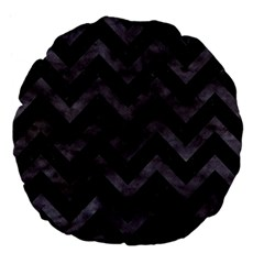 Chevron9 Black Marble & Black Watercolor Large 18  Premium Flano Round Cushions