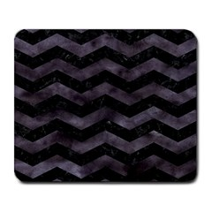 Chevron3 Black Marble & Black Watercolor Large Mousepads