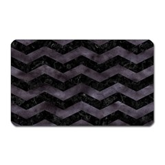 Chevron3 Black Marble & Black Watercolor Magnet (rectangular)