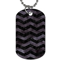 Chevron3 Black Marble & Black Watercolor Dog Tag (one Side)