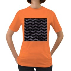 Chevron3 Black Marble & Black Watercolor Women s Dark T Shirt